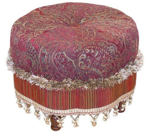 Scalloped Center Button Tufted Round Ottoman
