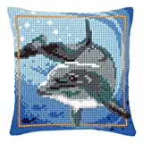 Vervaco Dolphin Cross Stitch Cushion Multi Colour
