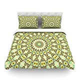 "Kess InHouse Iris Lehnhardt ""Kaleidoscope Green"" Geometric Cotton Duvet Cover, 88 by 104-Inch"