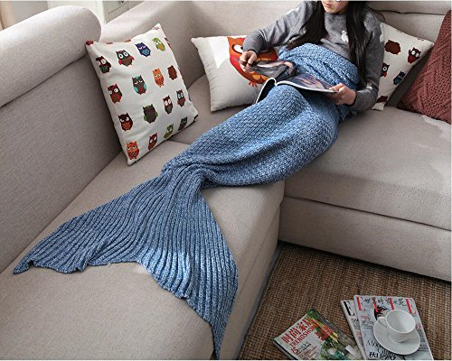 "Hughapy® Handmade Soft Crochet Sea Mermaid Tail Blanket for Teen/ Adult,(75""X32"",Blue)"