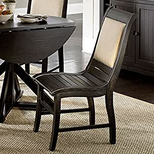 willow upholstered dining chair set of 2 distressed black chairs. Black Bedroom Furniture Sets. Home Design Ideas