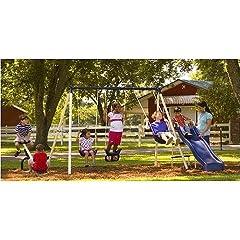 Buy Flexible Flyer Triple Fun II Metal Swing Set - Fun Outdoor Play for Kids - This... by Flexible Flyer