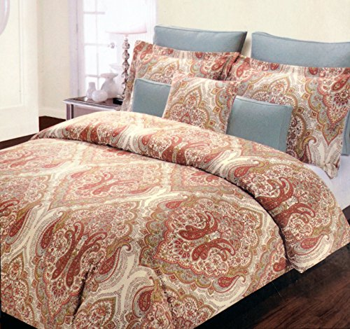 Tahari Queen Duvet Set Orange Blue Green Paisley On Cream Background front-67587