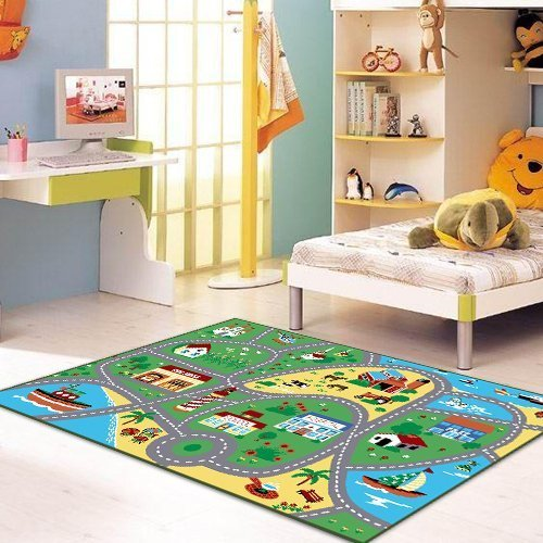 """Furnish my Place City Street Map Children Learning Carpet/Kids Rugs Boy Girl Nursery/Bedroom/Playroom/Classrooms Play Mat, Rectangle, 33"""" L"""