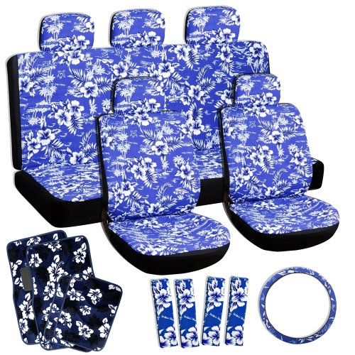 OxGord 21pc Hawaiian Seat Cover Floor Mat Set For The Toyota Prius Hatchback In Blue Print