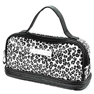 Sac Trousse Maquillage Etui Cosmetique Voyage Zipper rangement toilette leopard Blanc forme carre