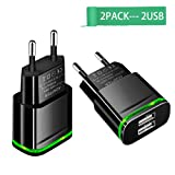 European Wall Charger,Capkit Universal 2-Pack Dual Port LED Europe USB Charger Plug Travel Power Adapter for iPhone X 8/7/6/6S Plus 5S,iPad,Samsung Galaxy S8 Plus S7/S6 Edge, HTC, LG and More (Color: Black, Tamaño: Black)
