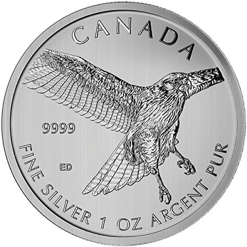 2015 Canada 1 oz Silver Birds of Prey Series Red Tailed Hawk Coin $5 Brilliant Uncirculated