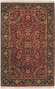 "Surya Taj Mahal TJ-1143 Classic Hand Knotted 100% Semi-Worsted New Zealand Wool Red 5'6"" x 8'6"" Area Rug"