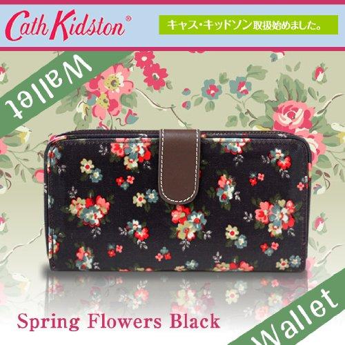 財布・長財布 Cath Kidston-キャスキッドソン-財布 長財布 レディース 長財布 (花柄黒) Spring Flowers Black