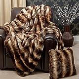 "Best Home Fashion Faux Fur Throw Blanket 58"" x 84"" - Chinchilla - TR"