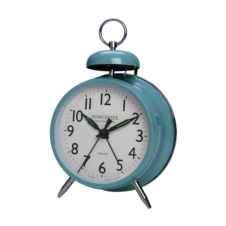 Pimlico Mechanical Wind Up Movement Single Bell Alarm Clock Blue