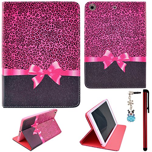 Ancerson Colorful Stylish Printed Series Integrated Ultra Slim Pu Leather Protective Flip Folio Stand Case Fit For Apple Ipad Mini 2 Mini Ii Free With A Red Stylus Touchscreen Pen, A 3.5Mm Universal Crystal Diamond Rhinestones Bling Lovely Silvery Flower