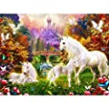 "WUKE DIY 14x18""Inch Diamond Painting Set Horse Pattern Resin Rhinestone Pasted Cross Stitch for Home Decoration"