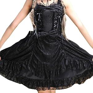 Patiss Women's Bow Straps Neck Sleeveless Cotton Blend Lolita Dress ,XS,Black