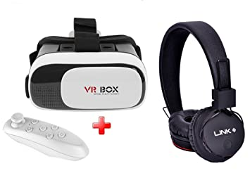 Link Plus VR Box With Bluetooth Remote And 5 in 1 Wirless Headphone Combo Kit For Xiaomi Redmi Note 4G available at Amazon for Rs.6100