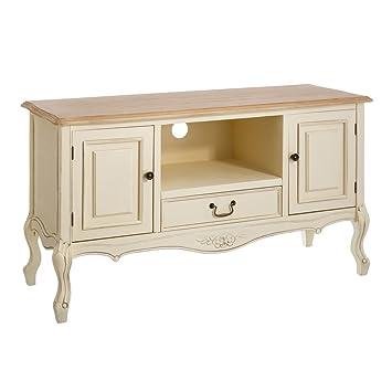 Mueble TV de madera con 1 cajón y 2 puertas beige romántico para salón France - Lola Home