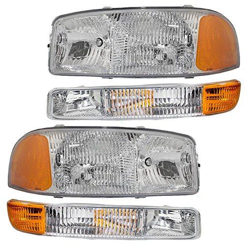 4-Piece Set Headlights & Signal Marker Lamps Replacement for GMC Pickup Truck SUV 15199560 15199561 15850351 15850352 (Headlight Assembly Gmc Yukon compare prices)