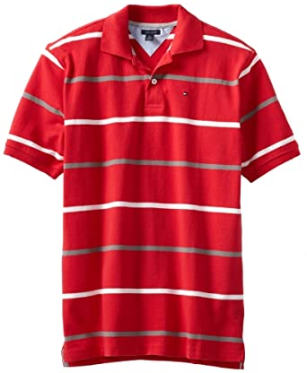 Tommy Hilfiger Big Boys' Short Sleeve Adriel Polo, Cherry Popsicle, Small