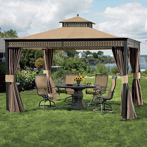 living home 10 x 12 gazebo replacement canopy and netting. Black Bedroom Furniture Sets. Home Design Ideas