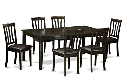 East West Furniture HEAN7-CAP-LC 7-Piece Dining Table Set, Cappuccino Finish