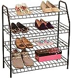 4-Shelf Stacked Metal Wire Shoe Rack