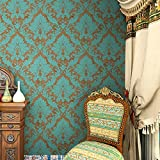 """HaokHome® 600906 Non Woven Vintage Blue/Bronze Damask Wallpaper for bedroom Wallpaper walls 20.8"""" x 393.7"""""""