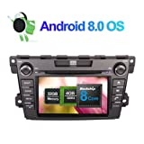 Flynavigo 8 Inch Android 8.0 Octa Core 4GB RAM 32GB ROM Car Radio Stereo for Mazda CX-7 2007- with DVD Player GPS Navigation Support AM/FM/WIFI/3G/AV Output/Bluetooth/1080P Video/Camera in