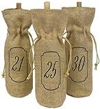 Hortense B. Hewitt Burlap Table Number Wine Bags, 21 to 30, Set of 10