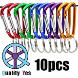 QY 10PCS 1.91 Inch Long Colored Spring Snap Hook Rings Aluminum Alloy Keychain Clip Buckle With Keyring D Shape