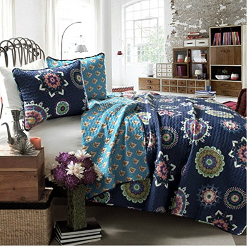 King Size Modern Boho Chic Quilt Set in Navy Geometric Patterns - 100% Cotton, 3 Pieces (Modern Quilts King Size compare prices)