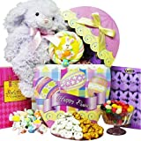 Art of Appreciation Gift Baskets   Easter Egg Stravaganza Chocolate and Candy Box with Plush Bunny Rabbit