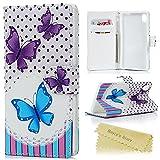 Mavis's Diary Funda de Cuero para Sony Xperia M4 Aqua - Flip case cover Diseño de mariposa con Cierre Magnético y función de Soporte