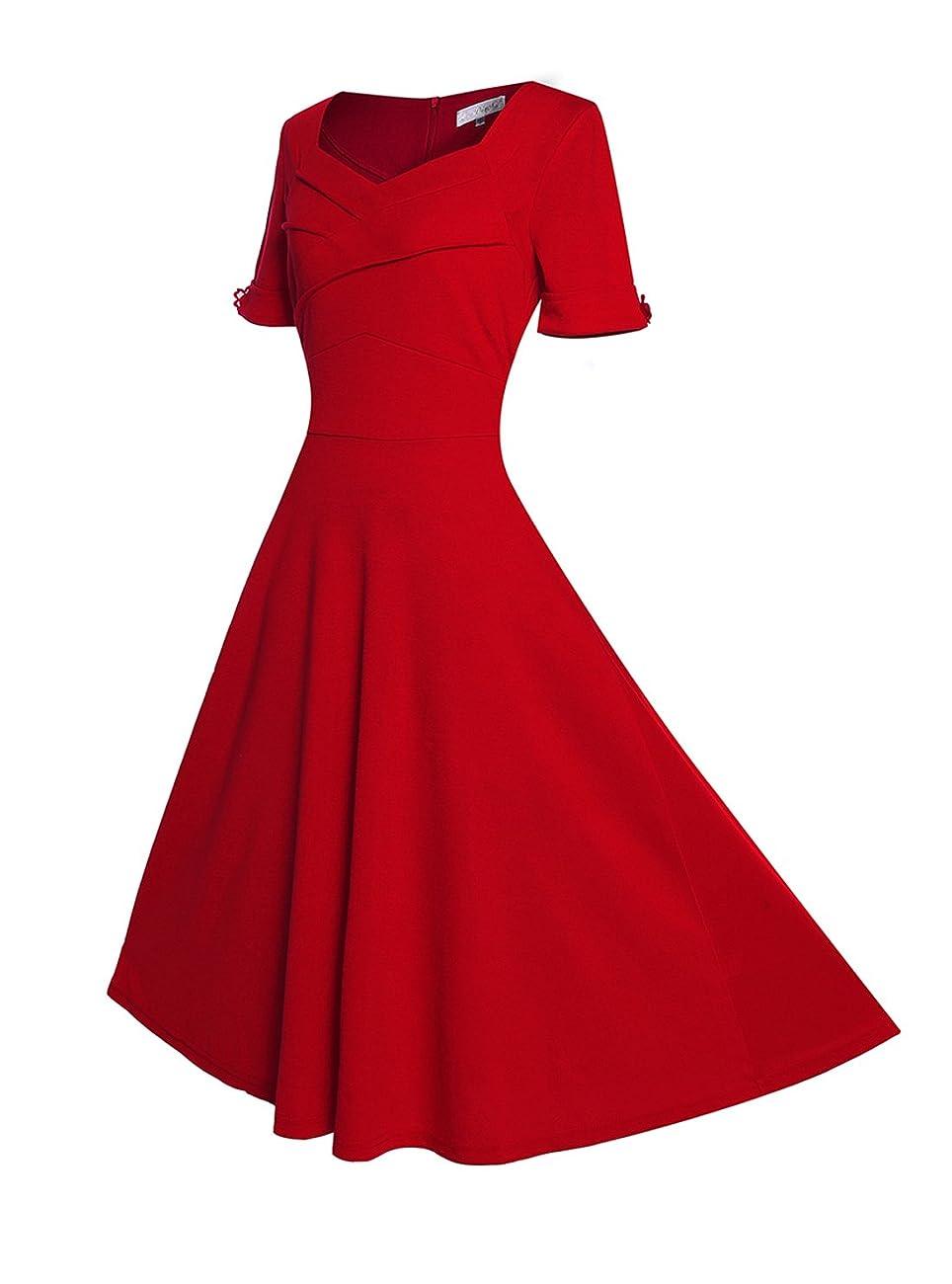 Relipop Women's Vintage V-neck Half Sleeve Dress Casual A-line Dresses 2