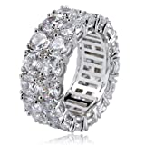 TOPGRILLZ 9mm 2 Rows Round Cut 14K Gold and Silver Plated Iced Out CZ Lab Diamond Eternity Wedding Engagement Band Ring (Color: Silver)