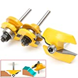3pc 1/4'' SH Ogee Raised Panel and Ogee Rail and Stile Router Bit Set, Essort Woodworking Cutter kit, Hard carbide, Yellow+Silver