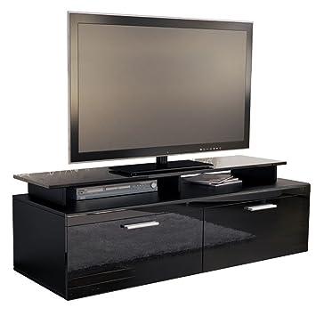 9 meuble tv bas bas atlanta en noir mat noir noir laqu haute brillance avec plateau tv. Black Bedroom Furniture Sets. Home Design Ideas
