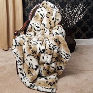 "Faux Fur Throw Blanket 58"" x 60"" - Lynx - BT"