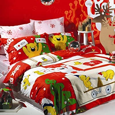Sisbay Christmas Bear Cartoon Duvet Cover,Fashion Animal Printed Bedding,Japan Children Red Bed Set,Twin Queen King Size