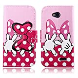 Fashion Youth Series Cute Design Pink Bow Bowknot Hand Wallet Flip Case Folio PU Leather Stand Cover with Card Slots for LG L70 Optimus D320 + Free Lovely Gift
