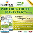 Green Coffee Bean Extract Pure - Healthy Life Brand - 100% Pure Natural Weight Loss Diet Supplement - 800mg - 50% Chlorogenic Acid & GCA - Burn Lose Belly Fat - Best Premium and Perfect All Natural Diet Pill - Made in USA Highest Quality Veggie Vegetarian Capsules