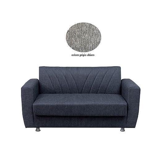 Divano letto 3 posti in tessuto grigio con contenitore 214x80xH.80 cm