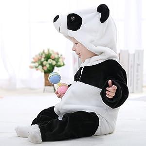 93e464d30 IDGIRL Unisex-baby Winter Flannel Romper Panda Outfits Suit Panda 70CM Panda  3-5 ...
