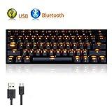 LexonElec Gaming Mechanical Keyboard RK61 Wired/Wireless Bluetooth 61 Keys Orange Yellow LED Backlit USB Ergonomic Multimedia Waterproof Pro Gaming Keypad (Brown Switch, Black) (Color: Black, Tamaño: Brown Switch)