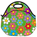 Snoogg Seamless Floral Pattern Flowers Texture Daisy Travel Outdoor Carry Lunch Bag Picnic Tote Box Container Zip Out Removable Carry Lunchbox Handle Tote Lunch Bag Food Bag For School Work Office