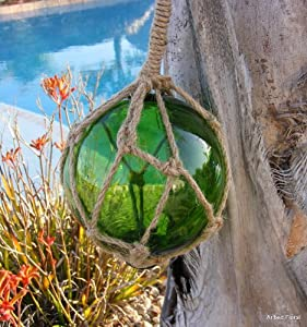 5.5 Green Glass Buoy Float Roped Nautical Ball Bouy Tiki Fishing Net Decor by UDMD