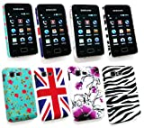 Emartbuy® Samsung S5220 Tocco Lite 2 Bundle Pack of 4 Clip On Protection Case/Cover/Skin - Violet Flowers , Union Jack, Zebra Black White & Rose Garden
