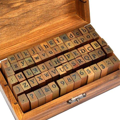 70-tlg. Holz Gummi Stempel Set Box Holz Stempelset Alphabet Buchstaben Stamp Letters