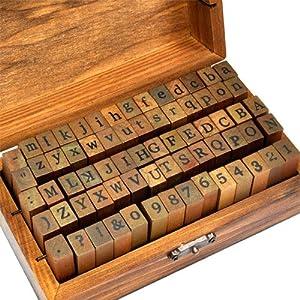70 tlg holz gummi stempel set box holz stempelset alphabet buchstaben stamp letters. Black Bedroom Furniture Sets. Home Design Ideas