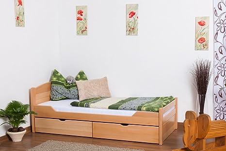 """Tagesbett / Funktionsbett """"Easy Sleep"""" K1/ Voll inkl 2 Schubladen und 2 Abdeckblenden, 90 x 200 cm Buche Vollholz Natur"""